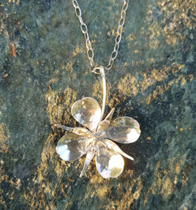 Necklace with large fireweed flower