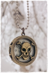 Pirate necklace with skull clock