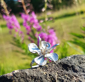 Flower ring - fireweed in silver