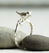 Ring with silver bird