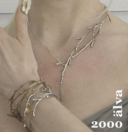 Necklace silver branch