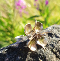 Flower ring - fireweed in bronze