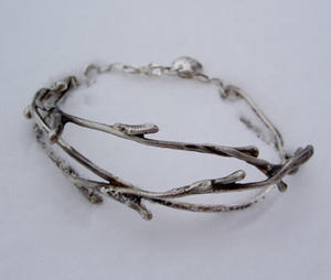 Bracelet silver branch with lock