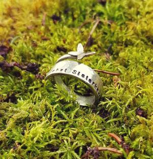 Sisterhood ring with butterfly