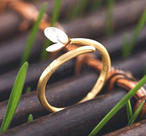 Goldy ring with silverflower